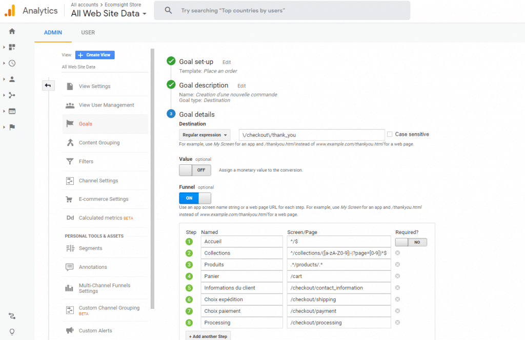 Configurer Shopify et Analytics